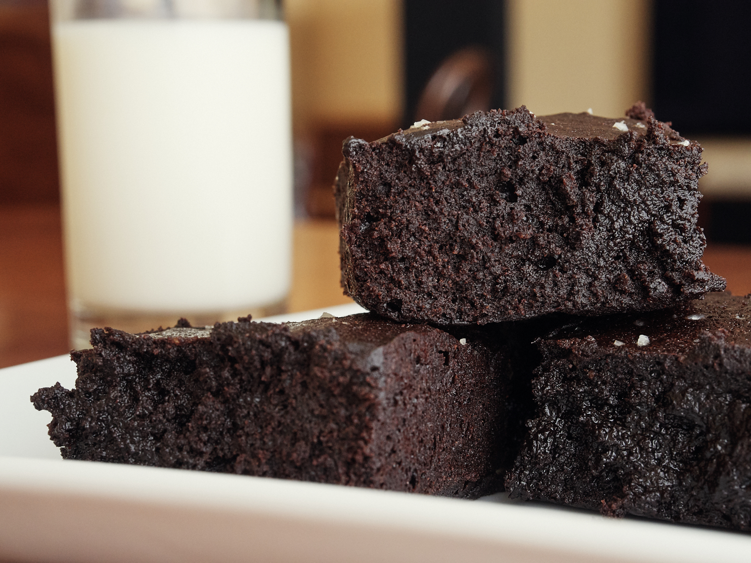 Serving Suggestion: Brownies: Plain with a glass of milk.
