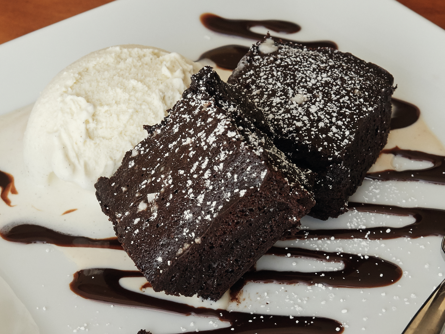 Serving Suggestion: Brownies, a sprinkle of powdered sugar, Ice cream & chocolate sauce.
