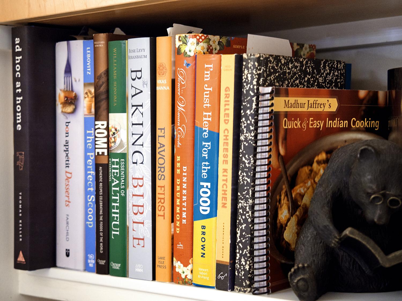 Just a few of my many cookbooks...