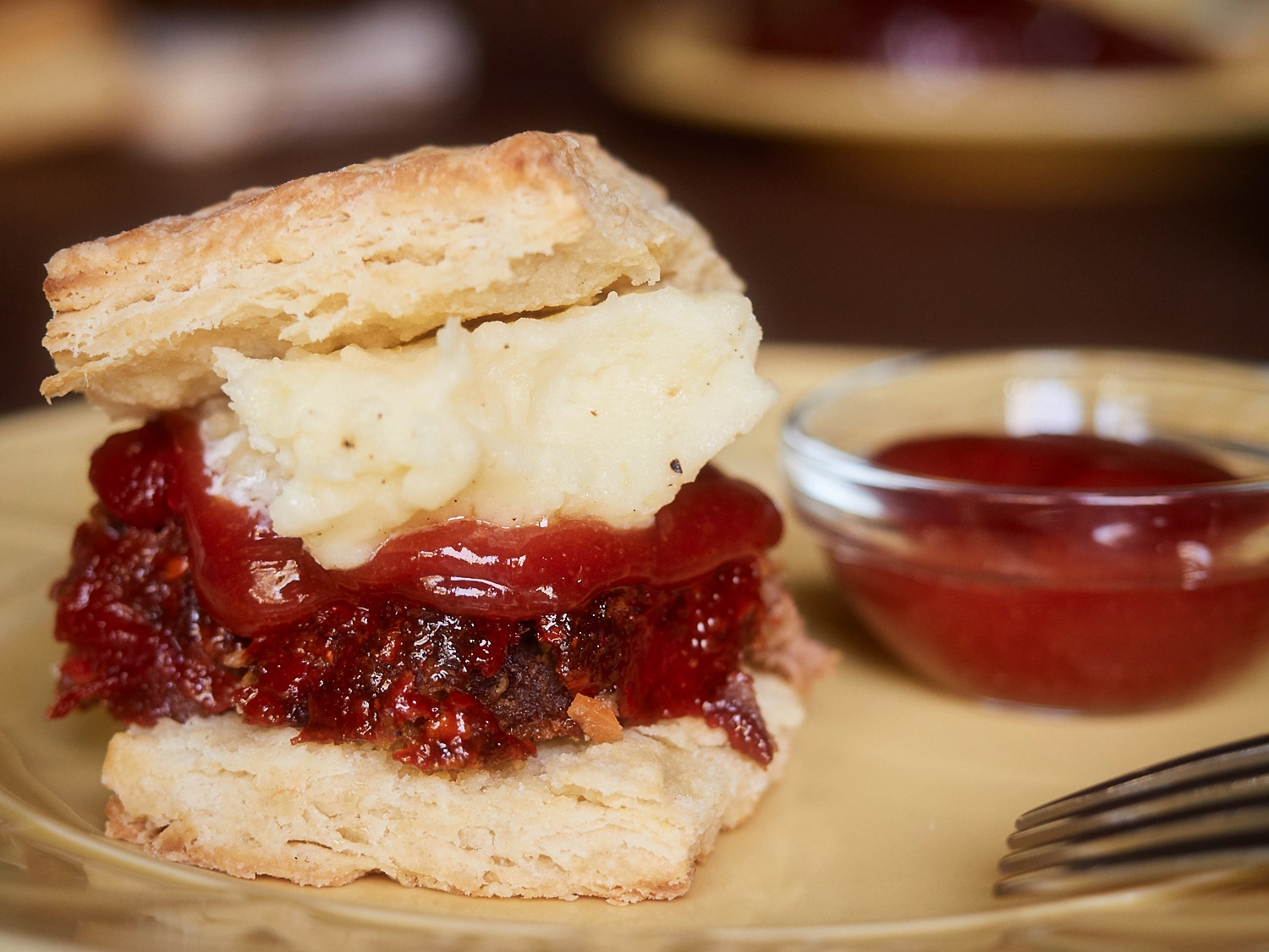 Meatloaf and mashed potato on a biscuit - YUM