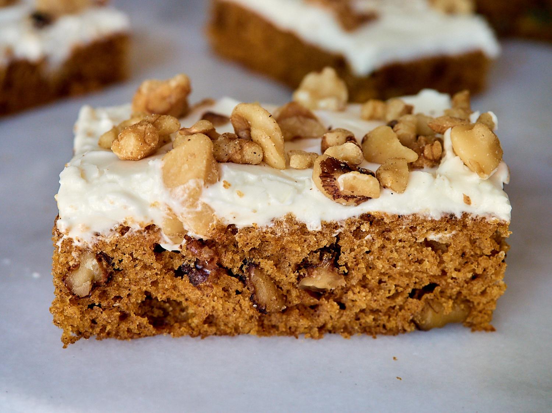 Pumpkin Cake Bars w/Maple Cream Cheese Frosting