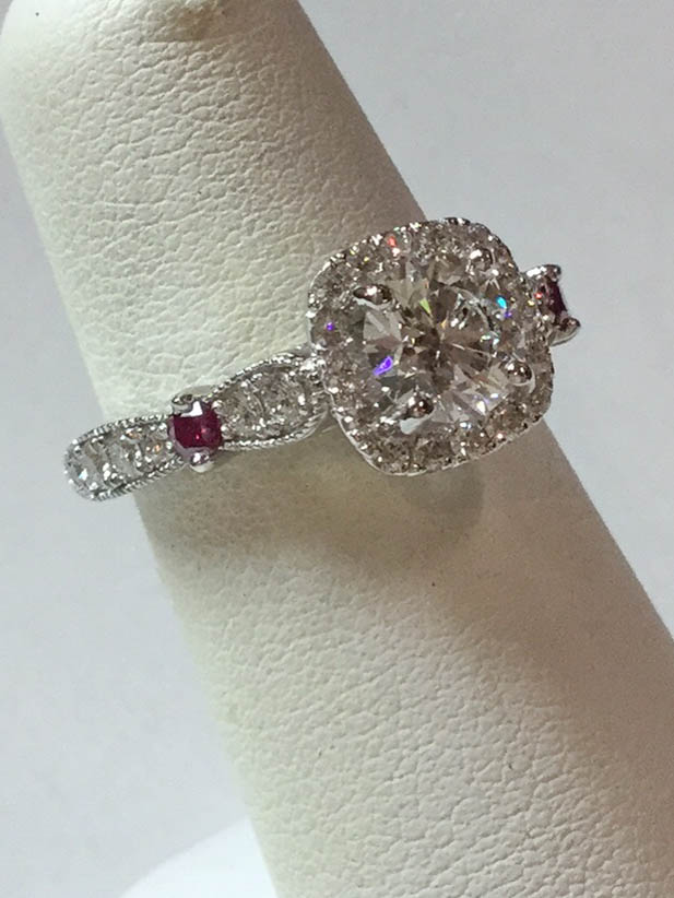 Copy of Diamond and Purple Diamond Engagement Ring