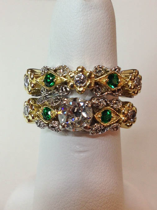 Copy of Diamond and Emerald Wedding Set