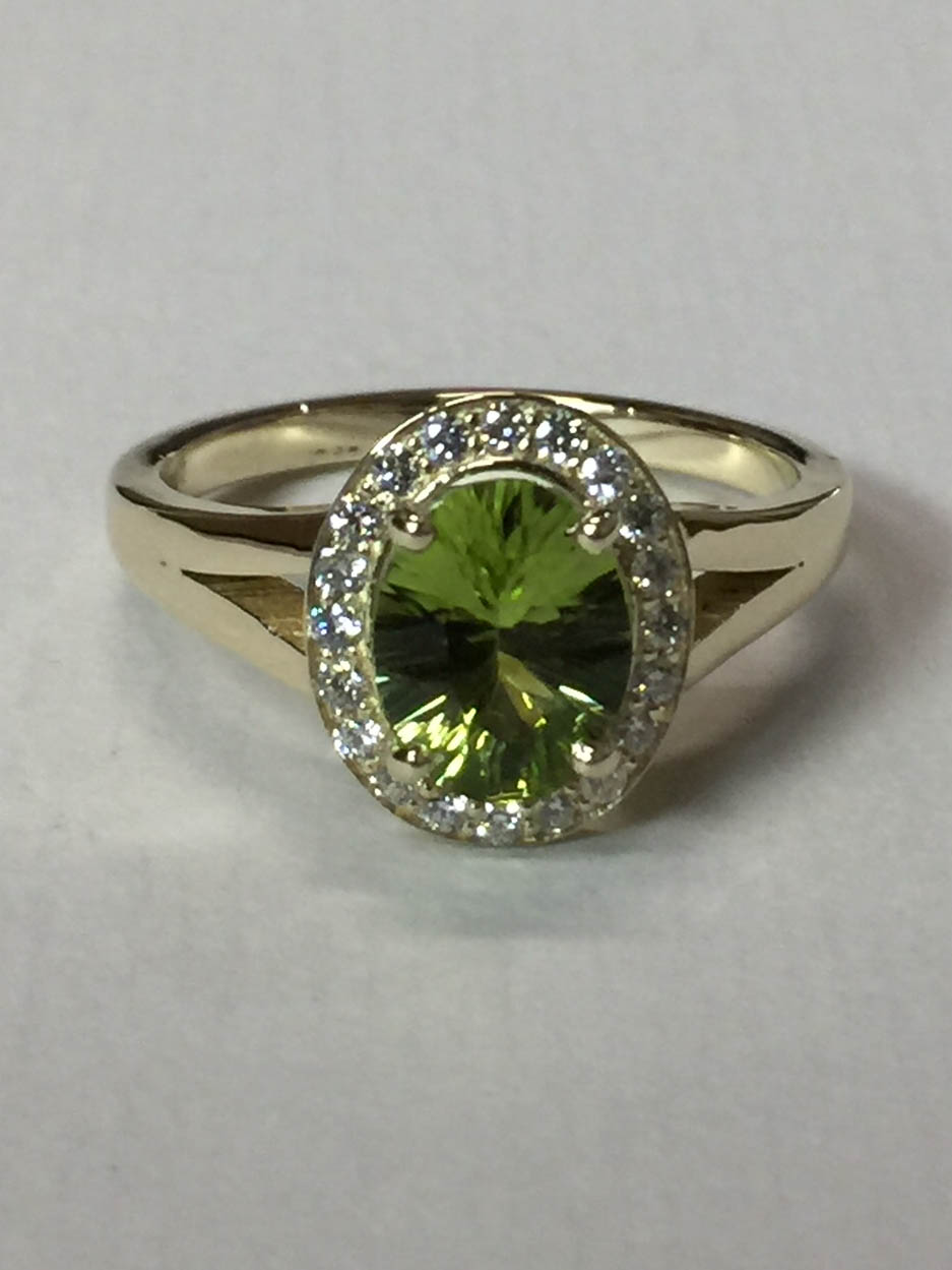Copy of Peridot and Diamond Ring