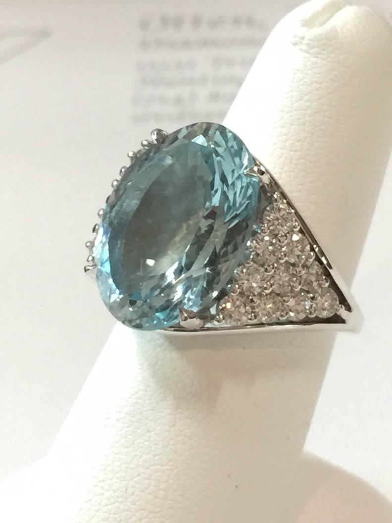 Copy of Aquamarine and Diamond Ring