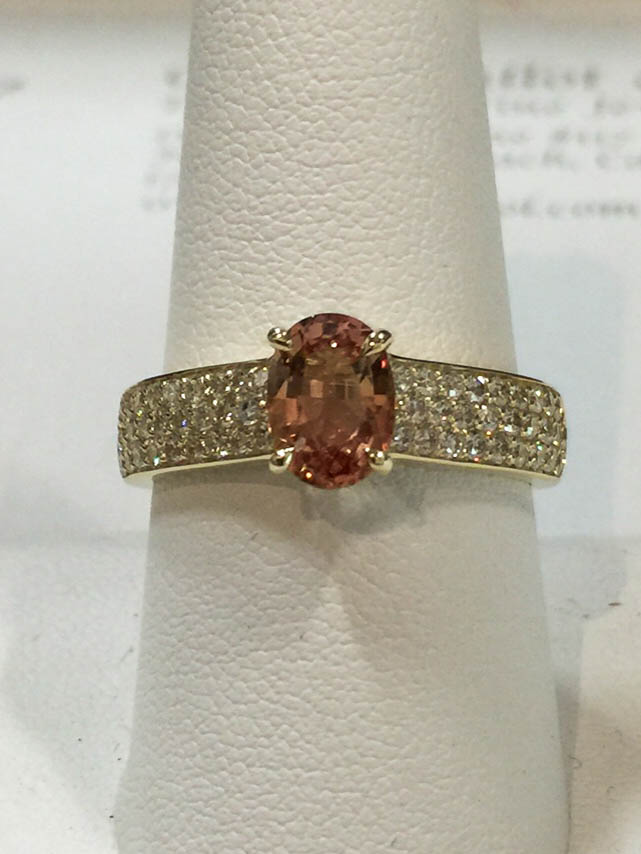 Copy of Peach Sapphire and Diamond Ring