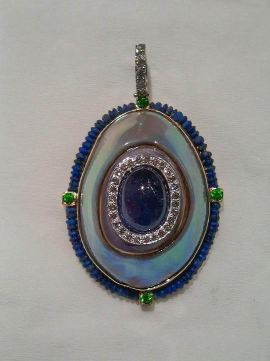 Copy of Cowry Shell Pearl, Tanzanite, Lapis, Demantoid Garnet, and Diamond Pendant