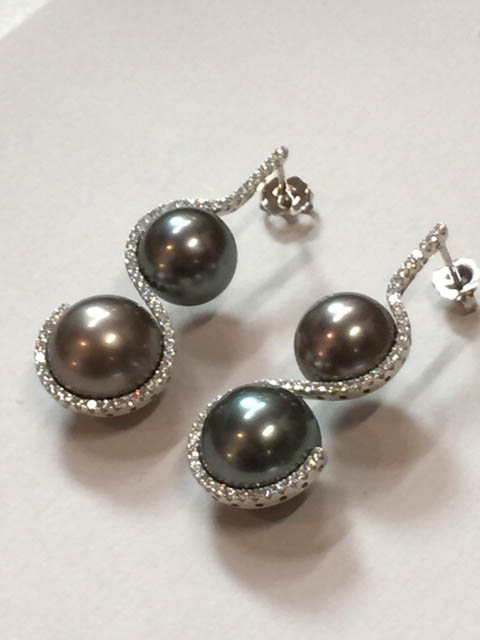 Copy of Tahitian Pearl and Diamond Earrings