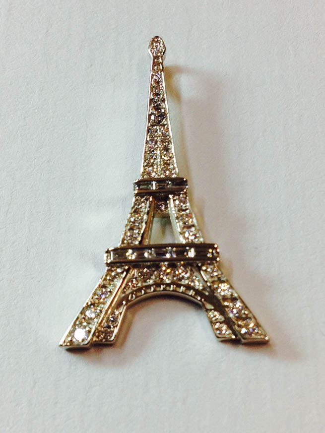 Copy of Eiffel Tower Pendant, Diamond and 14kt Gold