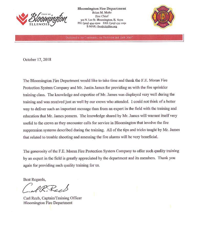Bloomington Fire Dept Letter.JPG