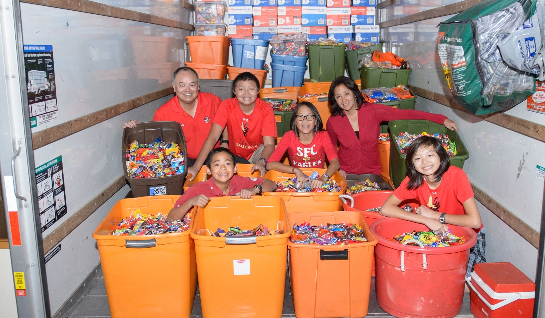 Dr. Chan rents a U-Haul truck each year to take the thousands of pounds of collected candy up to Operation Rescue in Los Angeles.