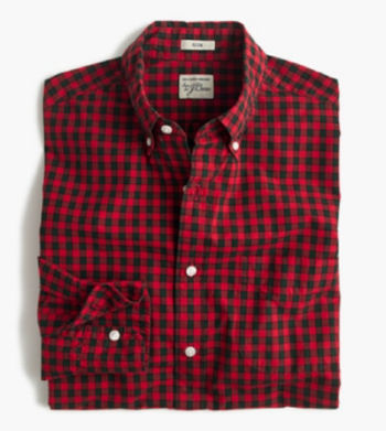 J. Crew Secret Wash Shirt in Red Check