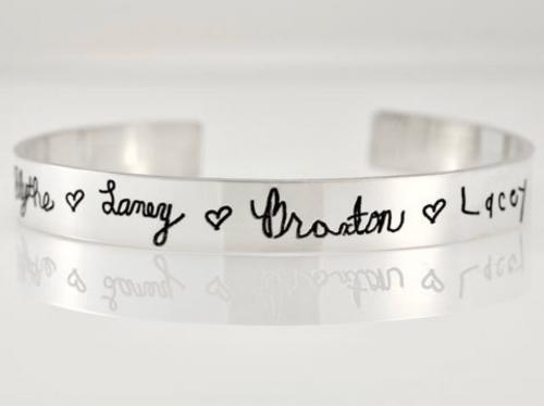Handwriting Cuff Bracelet  by Heartonyourwrist.com