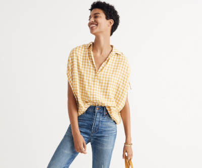 Madewell Central Ruched-Sleeve Shirt