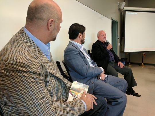 At the agtech conference... - Left, Gavin Kogan, listens to fellow panelist Jim Bogart of the Grower Shipper Association speak at the Salinas Valley Ag Tech Summit (04/13/17).