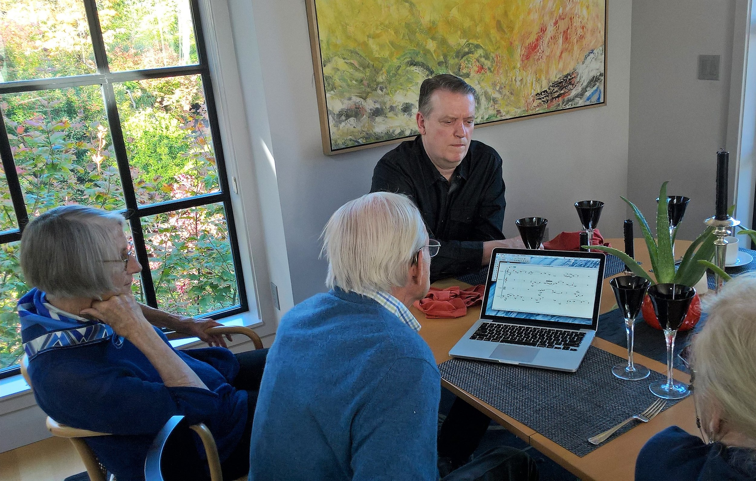 Discussing early fragments of the composition with Carl in Seattle in Oct 2016.