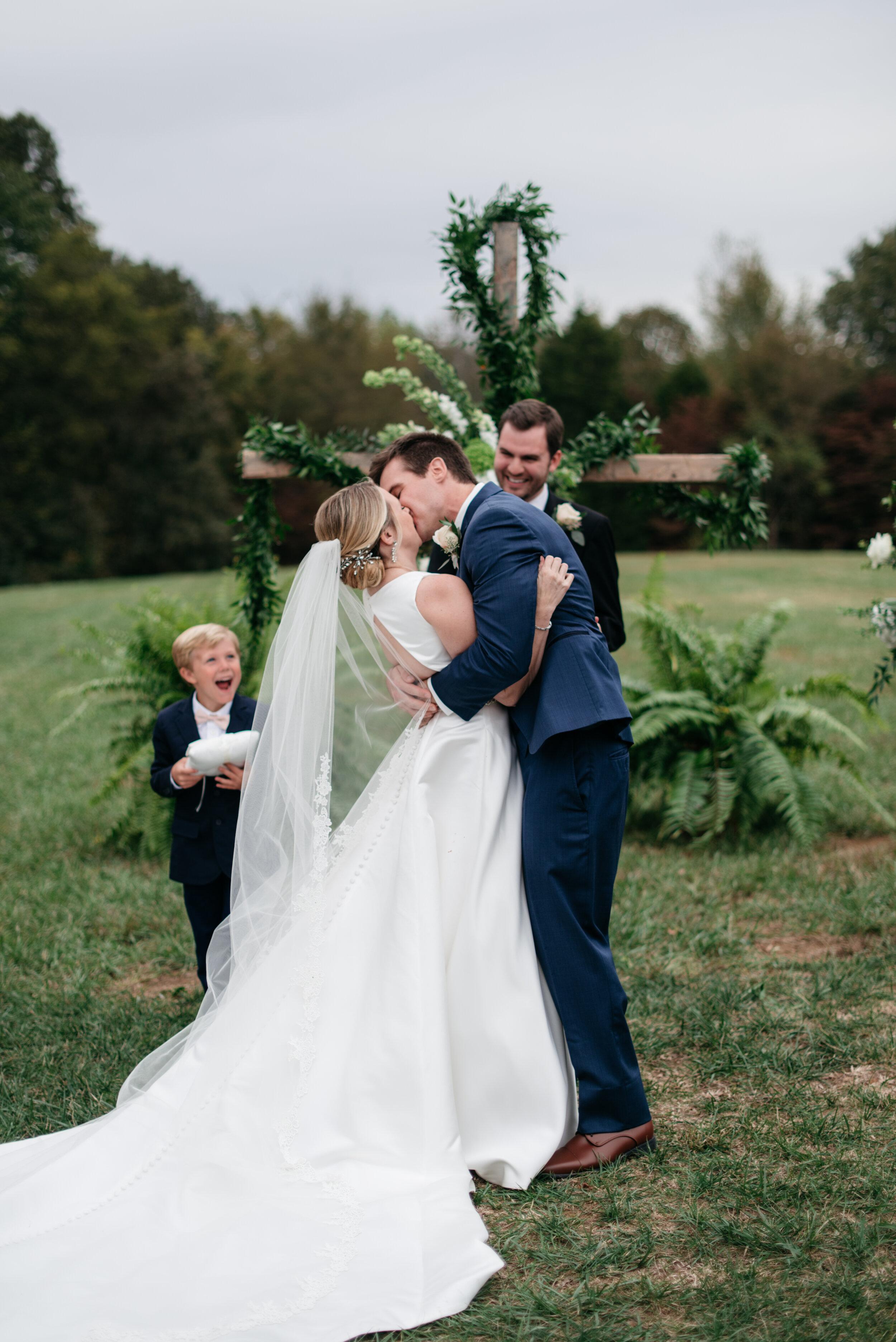First Kiss Cedars at Carr Farm Wedding