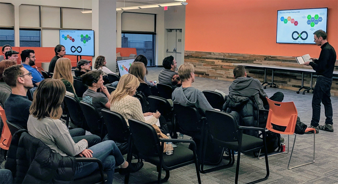 Brenton leading a Design Thinking discussion at a UX meetup.