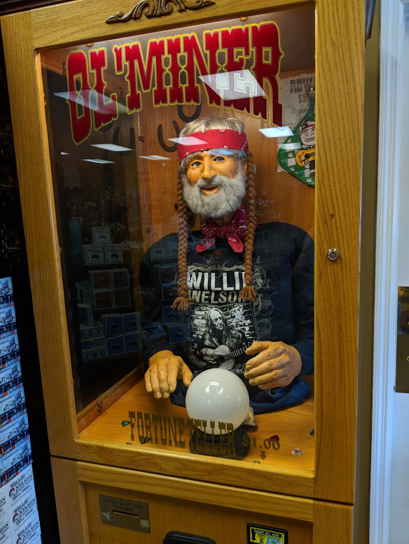 SUPER BONUS PHOTO of Willie fortune teller machine. (As-yet unrealized film sequel opportunity: Remake  Big , but with Willie starring as the creepy machine this time.)