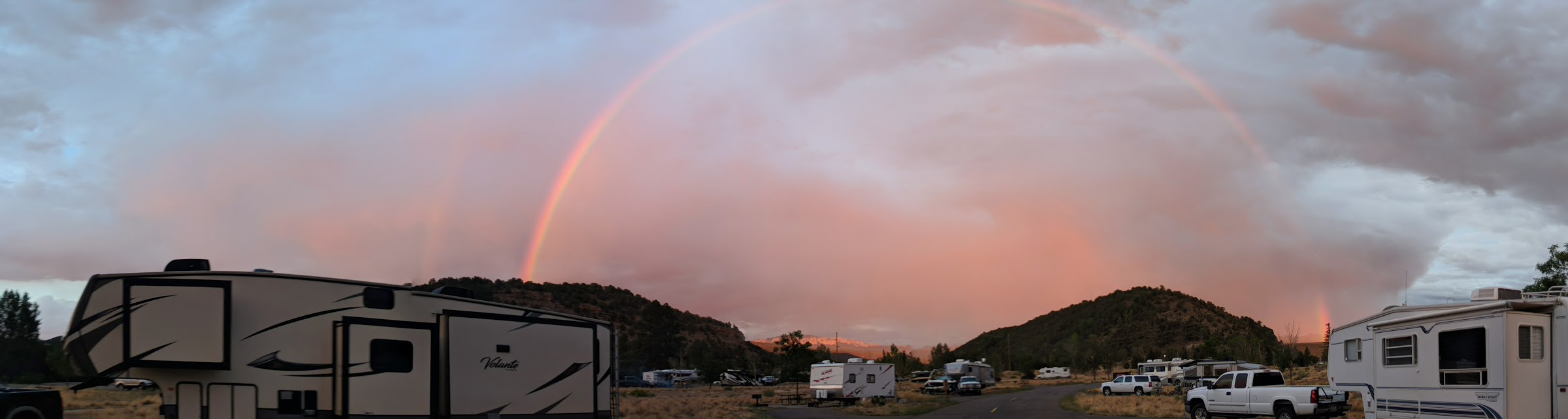 July 2018. Ridgway State Park, Colorado. This was our gift the night we arrived for a weekend in the trailer hanging with friends.