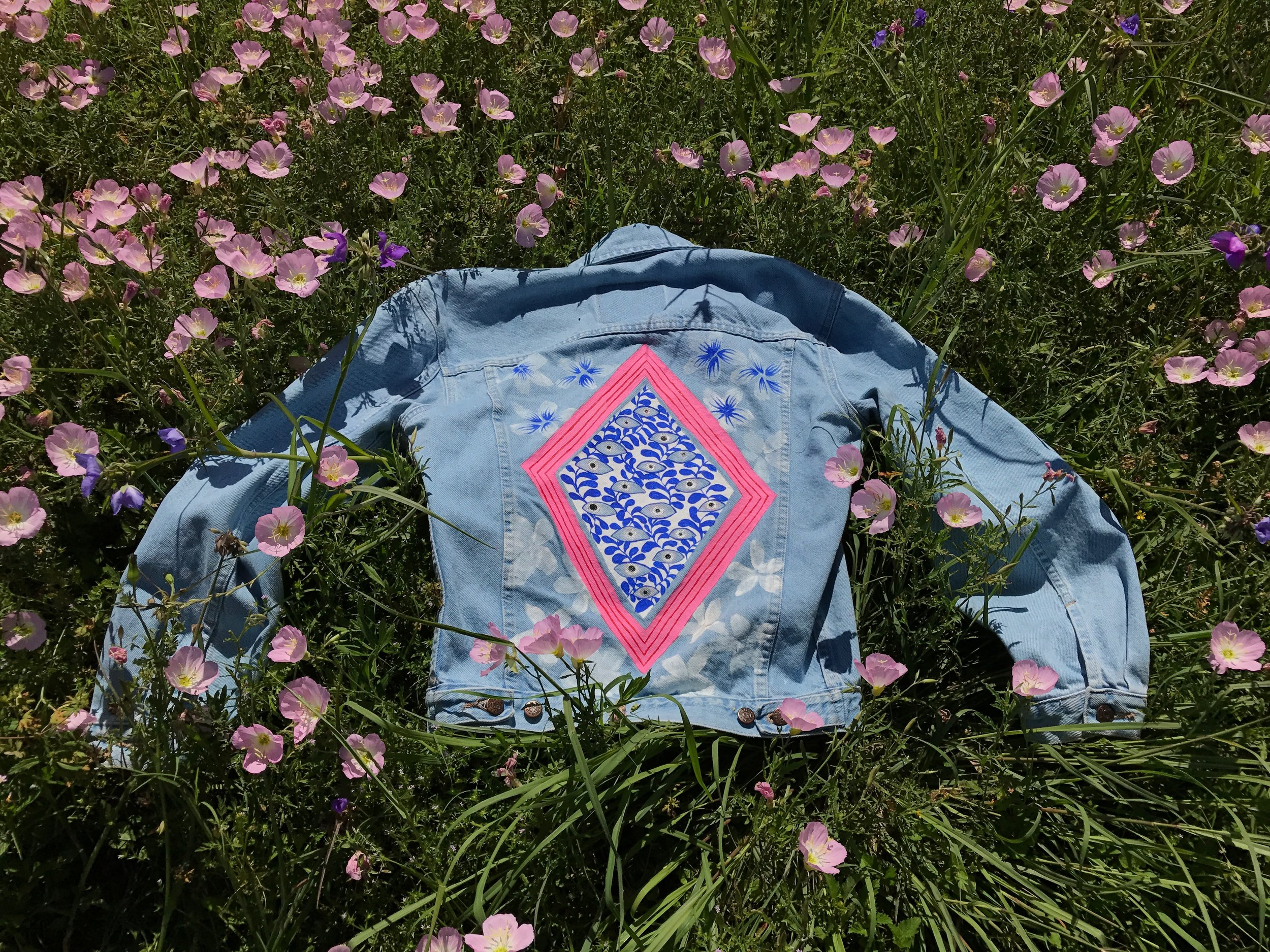 Paint on vintage denim jacket, 2017.