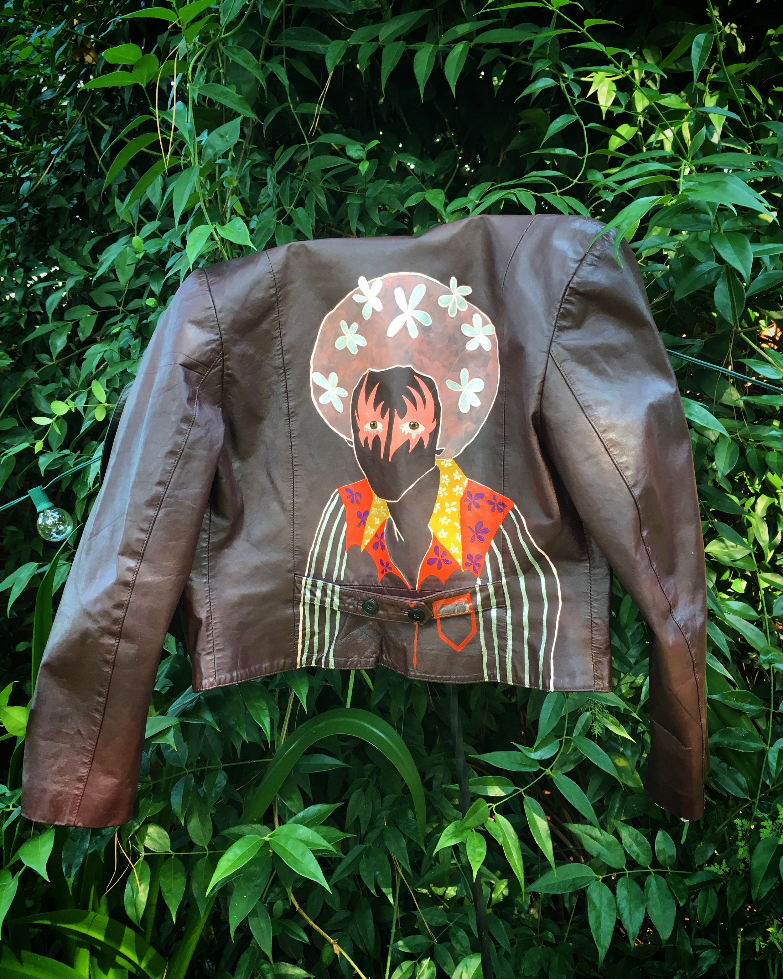 Paint on vintage on leather jacket, 2017.