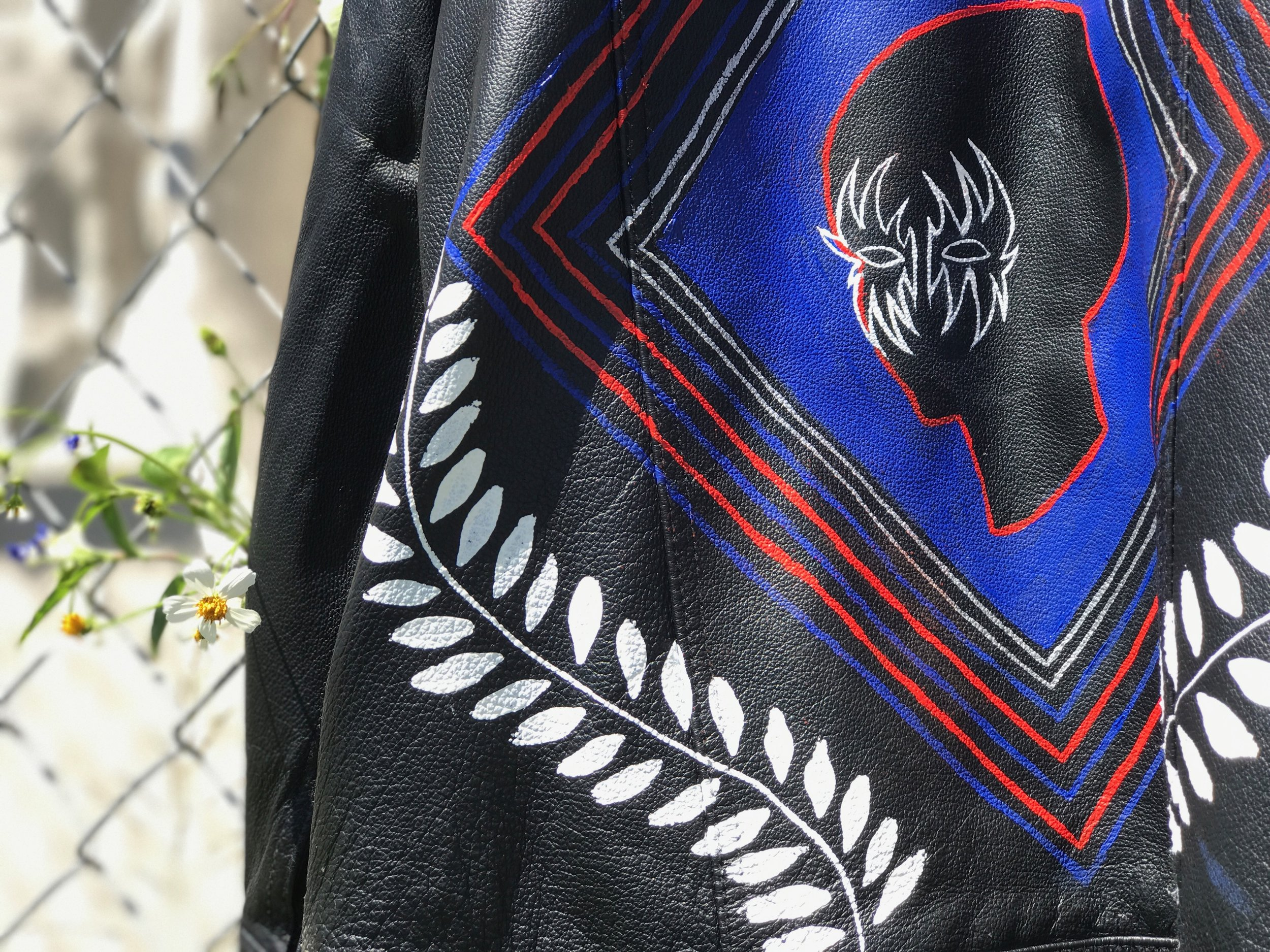Paint on vintage leather jacket, 2017.