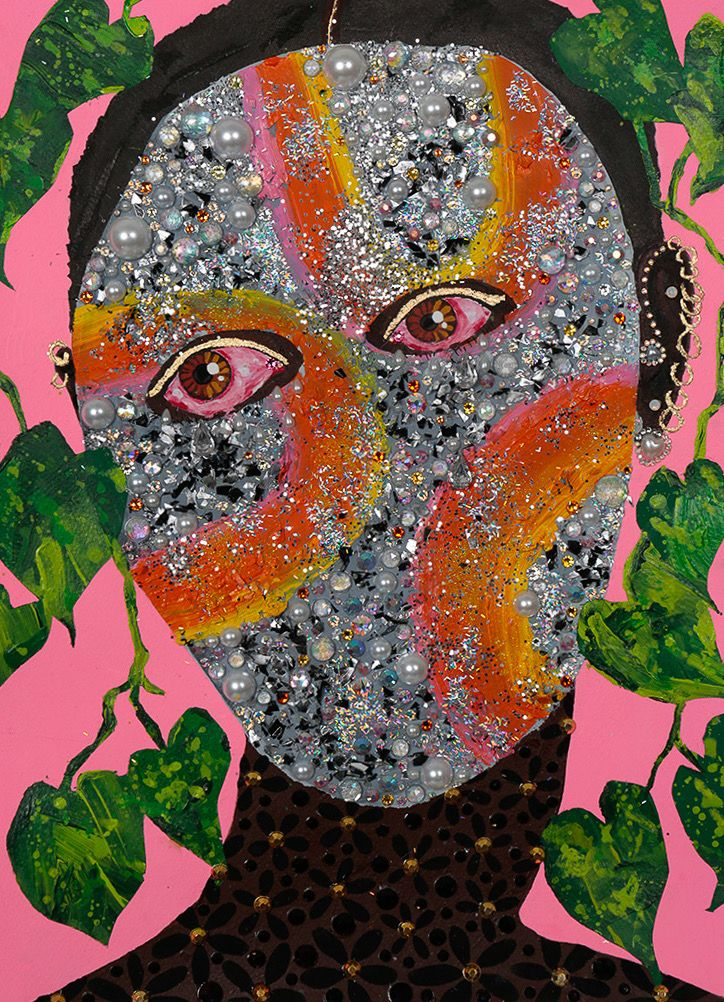 """Jasmine Zelaya,  Ritual Mask , 2018, Gouache, Acrylic, Oil Paint, Ink, Rhinestones, Glitter, Metallic Confetti and Gold Leaf on Arches Watercolor Paper, 10"""" x 14"""""""
