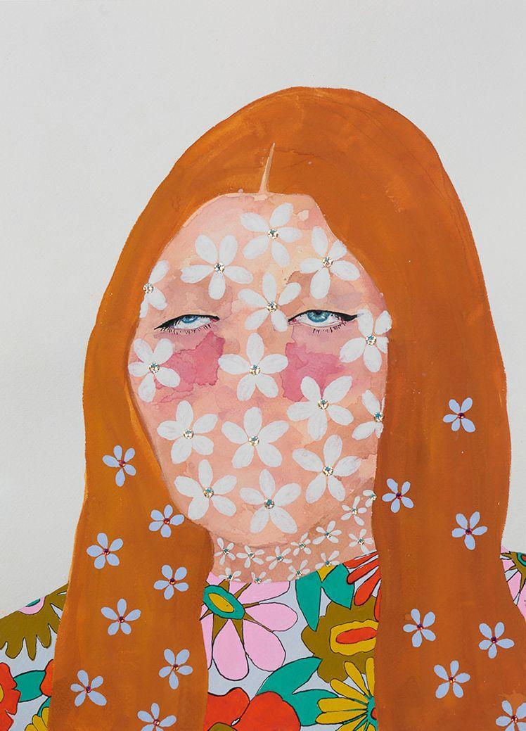 "Jasmine Zelaya,  Vacancy , 2018, Gouache, Ink and Rhinestones on Arches Watercolor Paper, 10"" x 14"""
