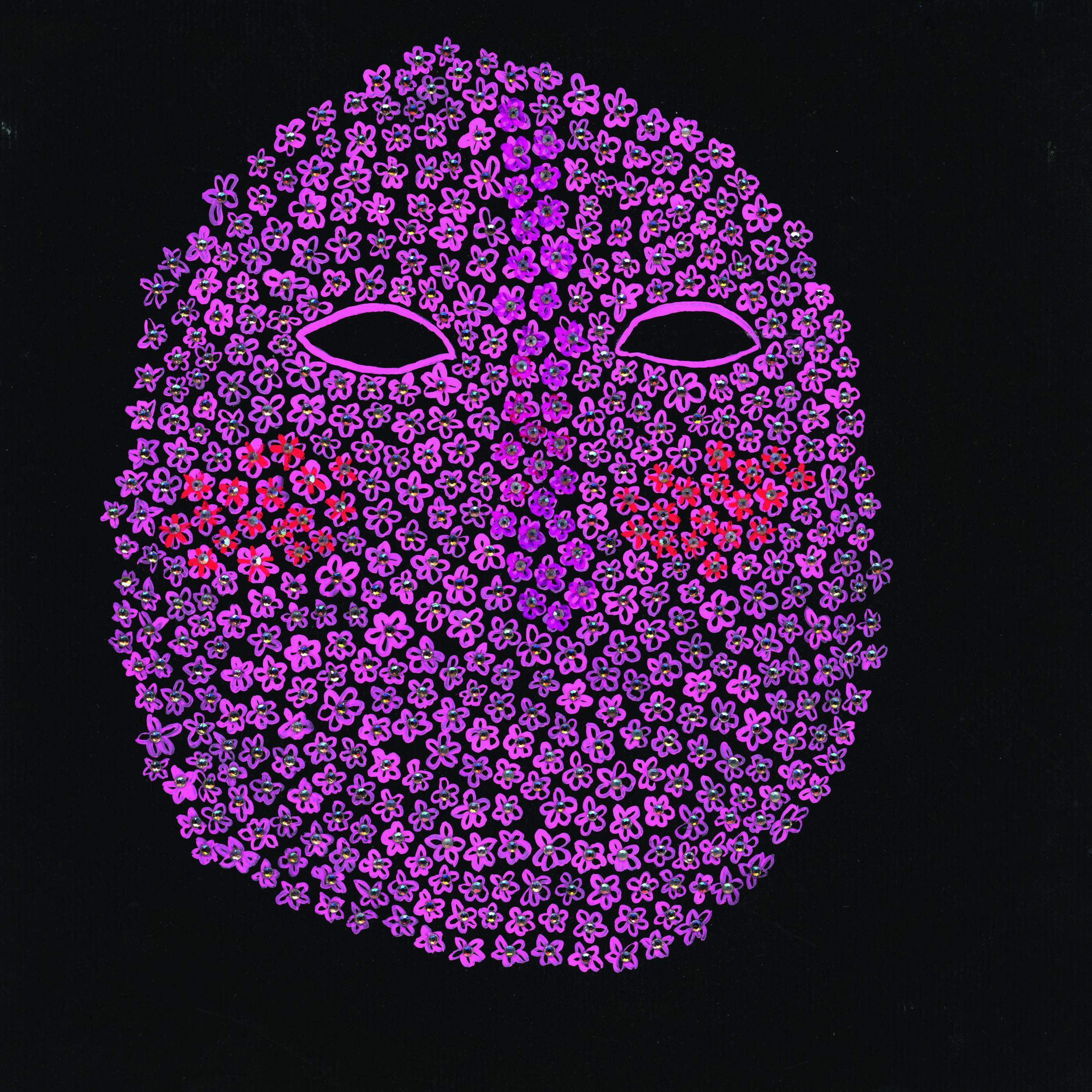 """Jasmine Zelaya,  Ishihara Mask , 2016 Gouache and Rhinestones on Watercolor paper, 8"""" x 8"""""""
