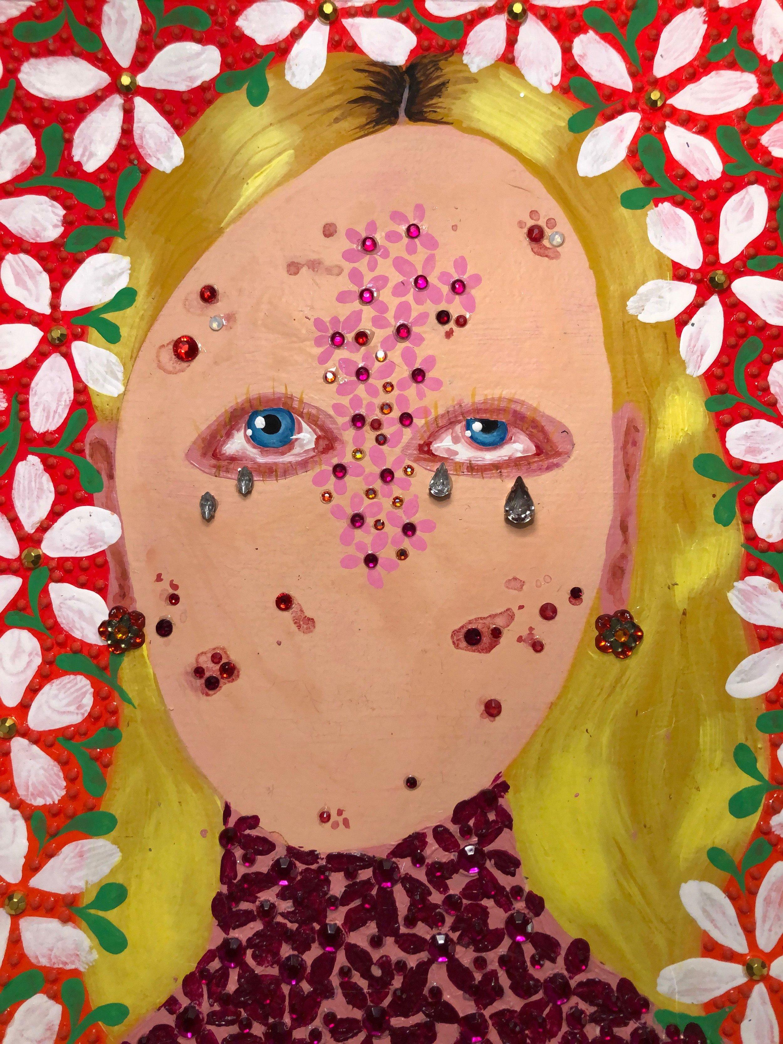 """Jasmine Zelaya,  Adolescence , 2019, Gouache, Acrylic, Ink and Rhinestones on Watercolor paper, 12"""" x 12"""""""