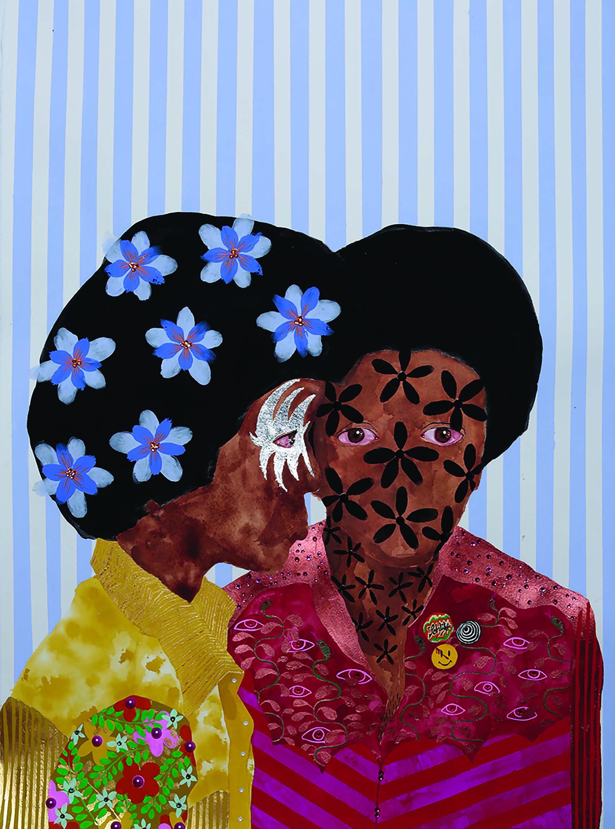 "Jasmine Zelaya,  Fan Boys ., 2017, Gouache, Silver Leaf, Swarovski Rhinestones, Pearl Flatbacks and ink on Arches Watercolor Paper, 22"" x 30"""