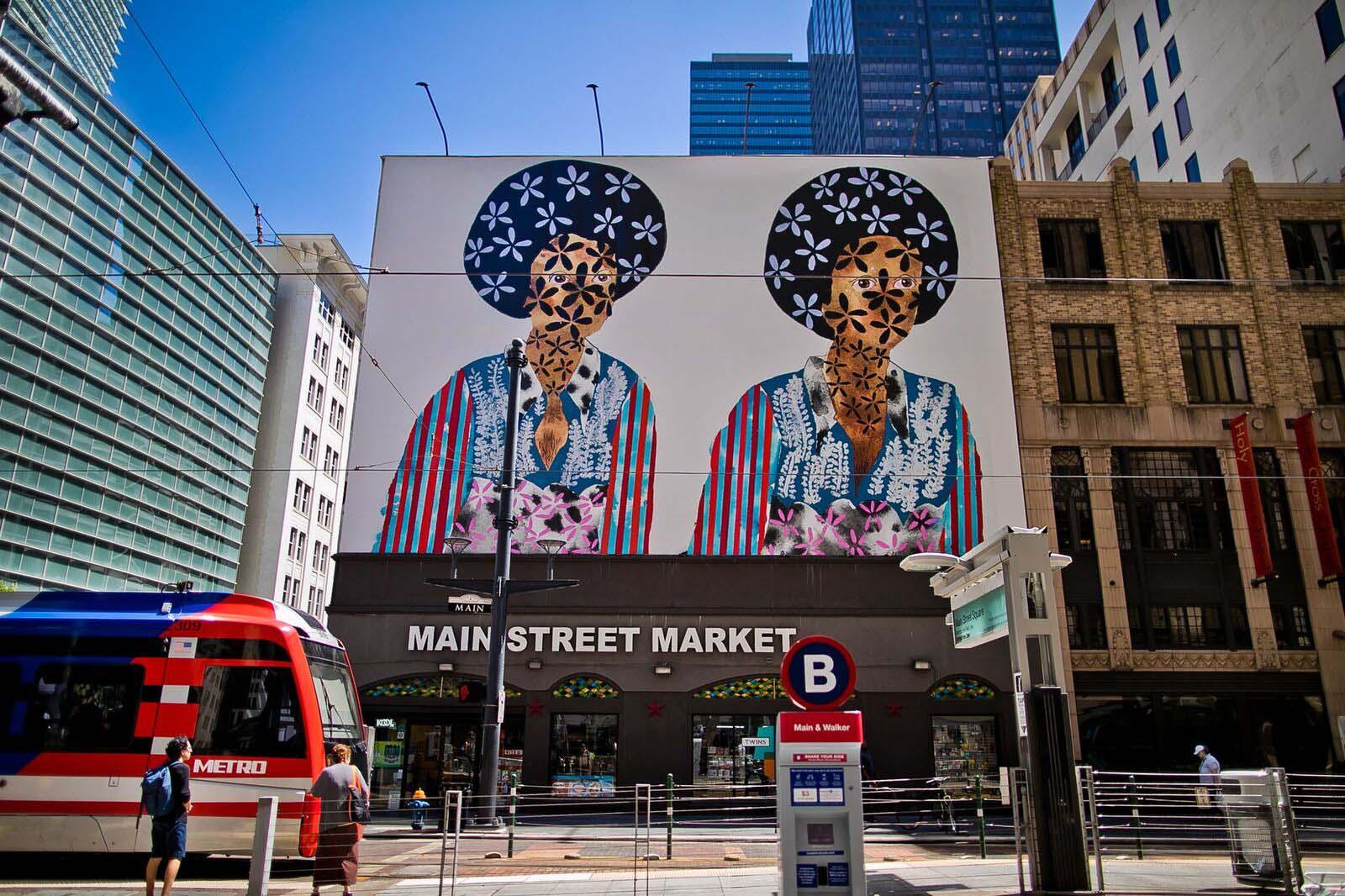 Jasmine Zelaya,  Twins  Main Street Marquee, 2018, 40' x 60' (vertical x horizontal) Vinyl affixed on the Façade of 901 Main Street in downtown Houston's Main Street Square