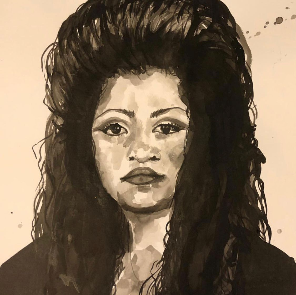 "Jasmine Zelaya,  Dulce , 2019, Ink on Watercolor Paper, 16"" x 16"""