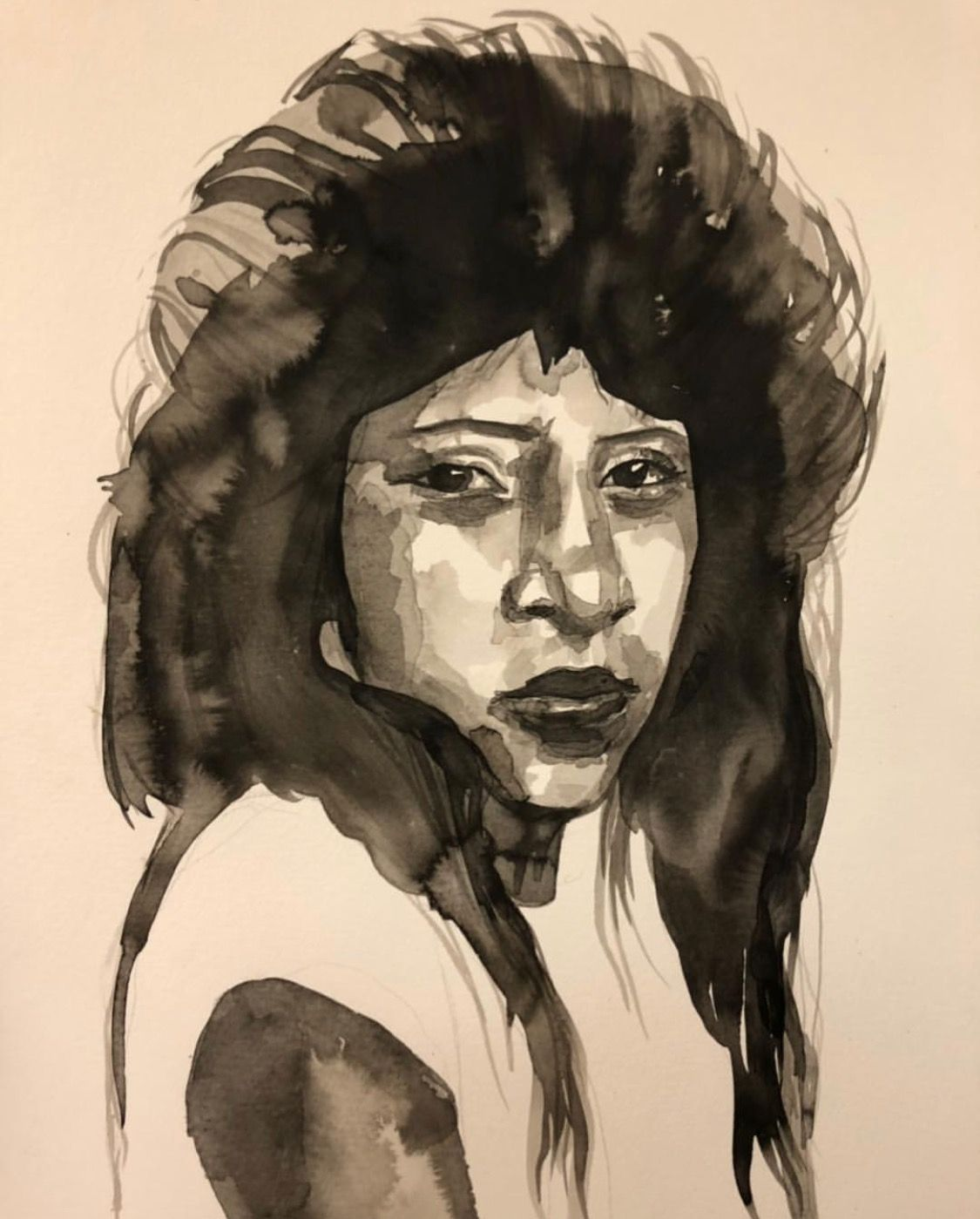 "Jasmine Zelaya,  Sad Girl , 2019, Ink on Watercolor Paper, 16"" x 16"""