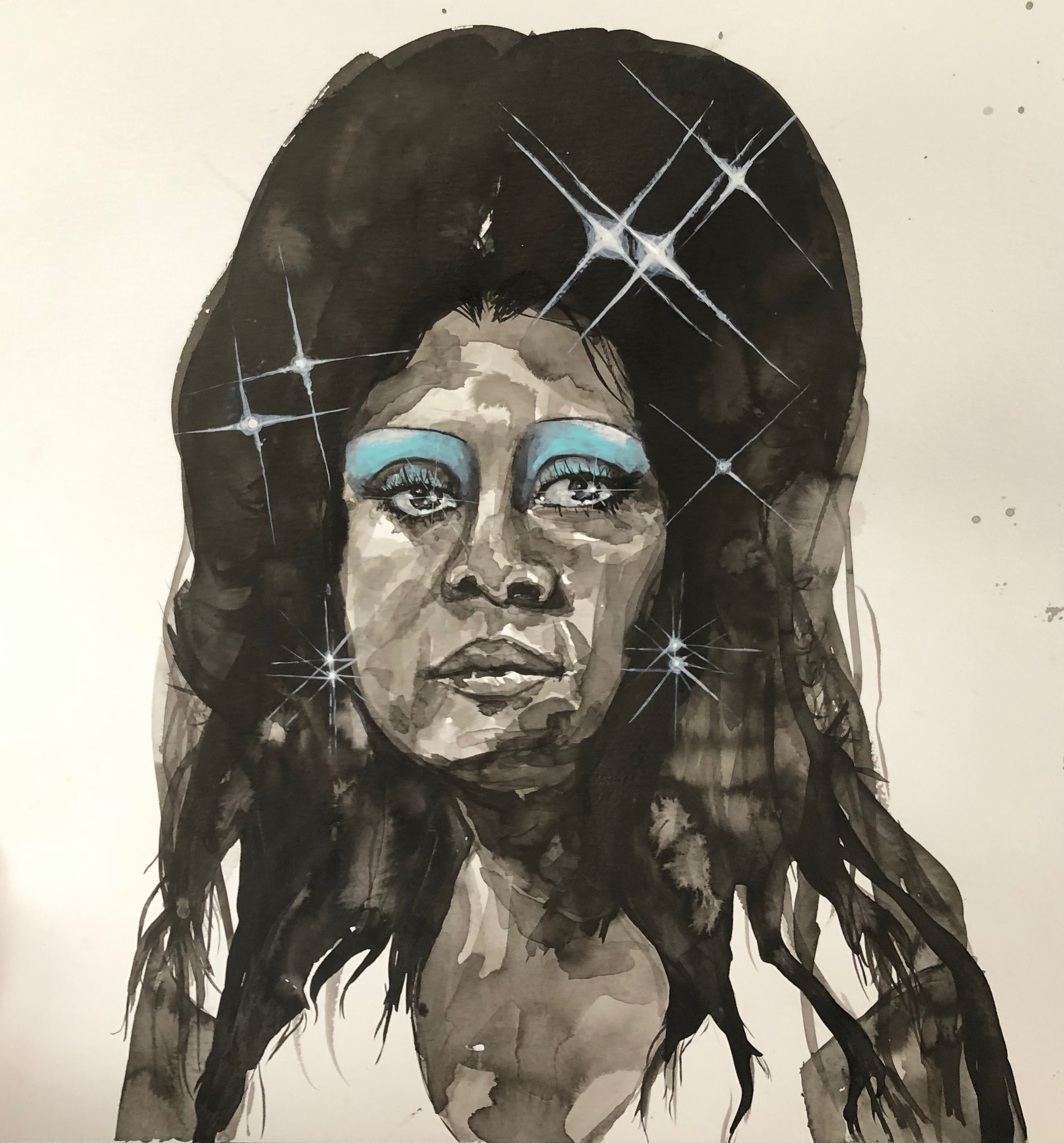 "Jasmine Zelaya,  Blue Eyes , 2019, Ink on Watercolor Paper, 16"" x 16"""
