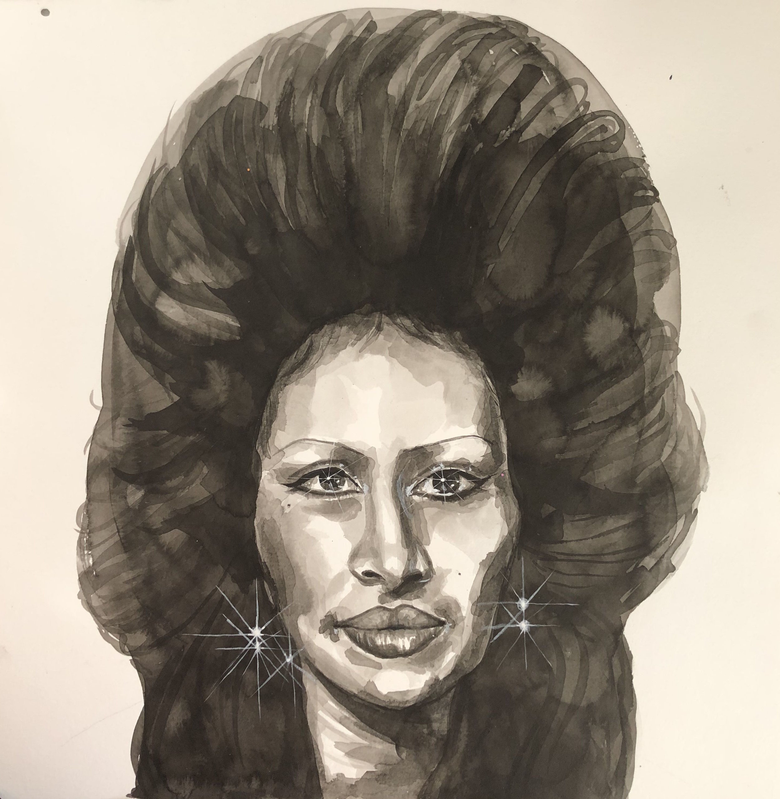 "Jasmine Zelaya,  Stars In Your Eyes , 2019, Ink on Watercolor Paper, 16"" x 16"""