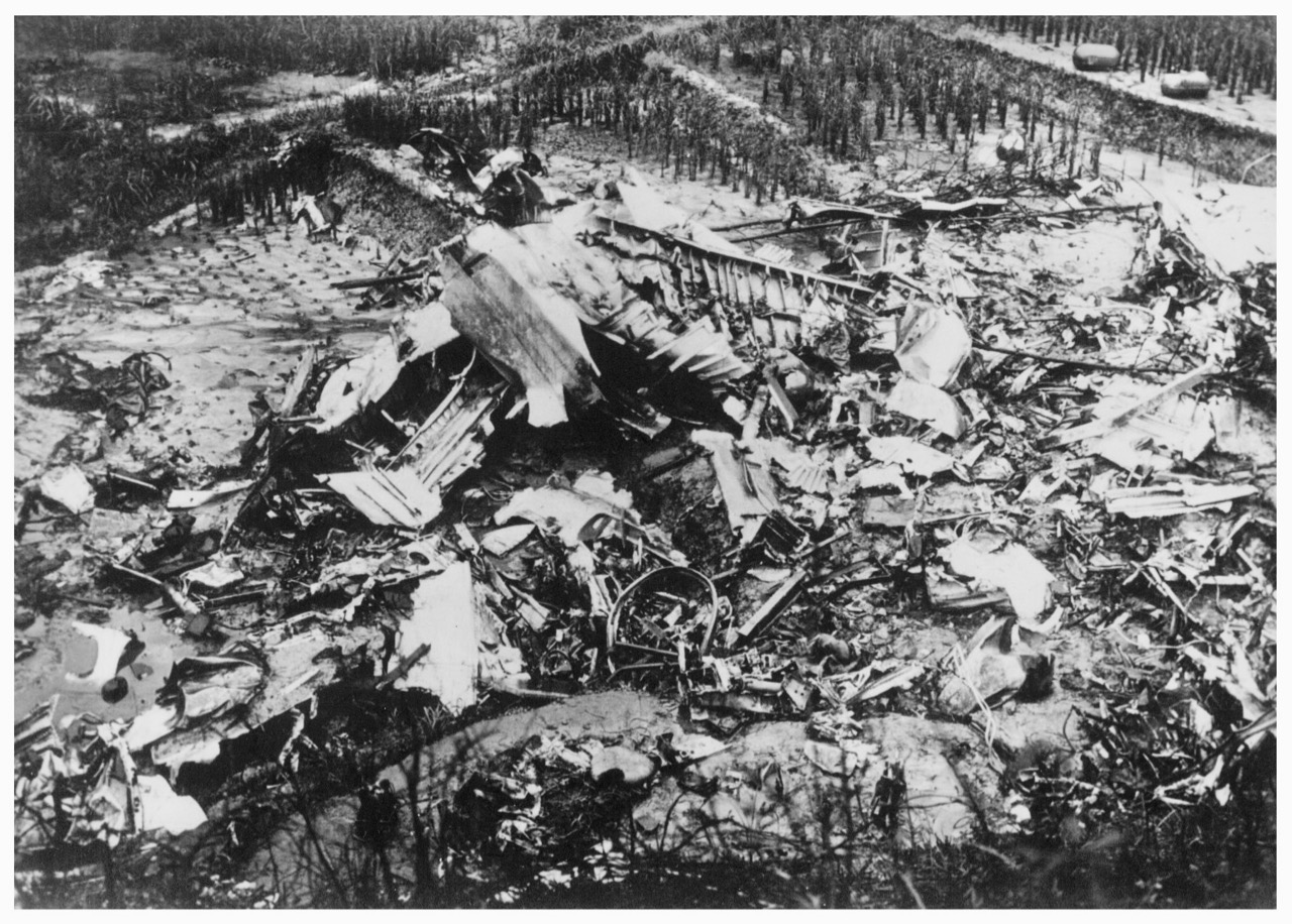 Wreckage of the B-24  Taloa , one of two Liberators that were shot down during a bombing run over the Japanese battleship, the  Haruna . The crash site was in Saeki-ward, Hiroshima City, Photo credit: Mr. Akitaka Fujita