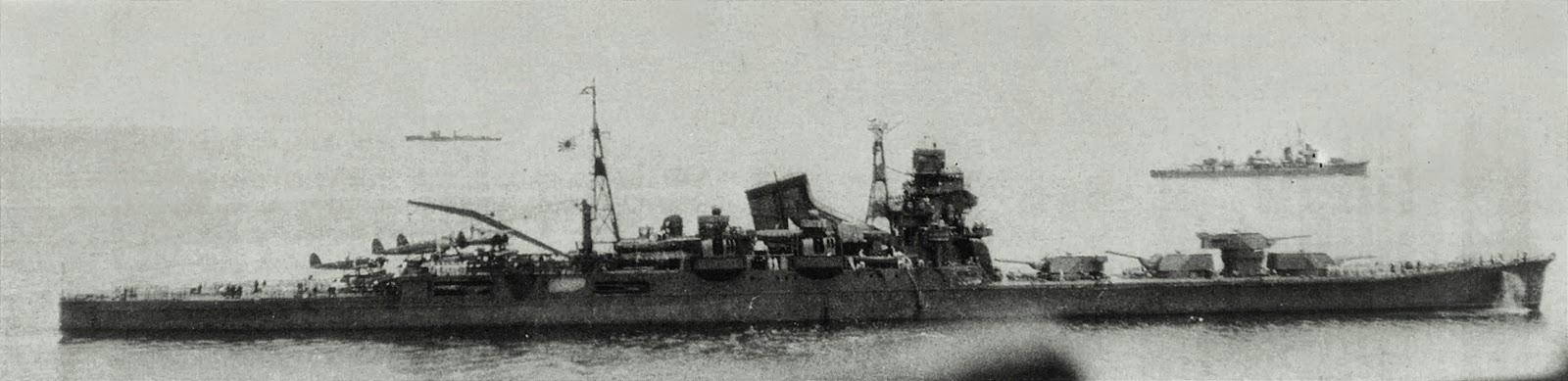 Japanese Heavy Cruiser  Tone , 1942. The Tone was towed to Etajima where it was used for training (viz.wikipedia).