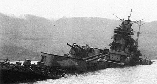 The Tone, sunk by 3 bombs on 24 July, 1945, was attacked again by planes from the carriers   Wasp  ,   Bataan   and  (viz. wikipedia) .