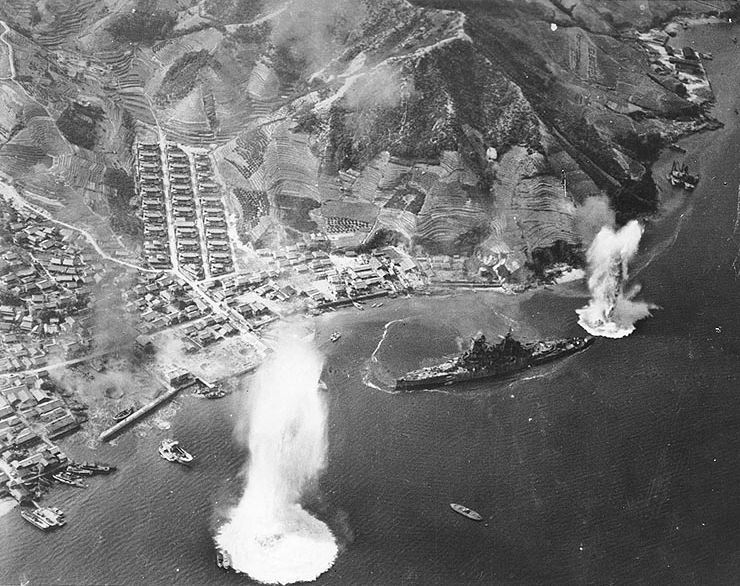 """The  Haruna  under attack by the US Navy while moored off Etajima, the site of Japanese Navy's """"Annapolis"""".. Her 4-10 inch armor saved her from several other attacks, including direct strikes by 500-lb bombs."""