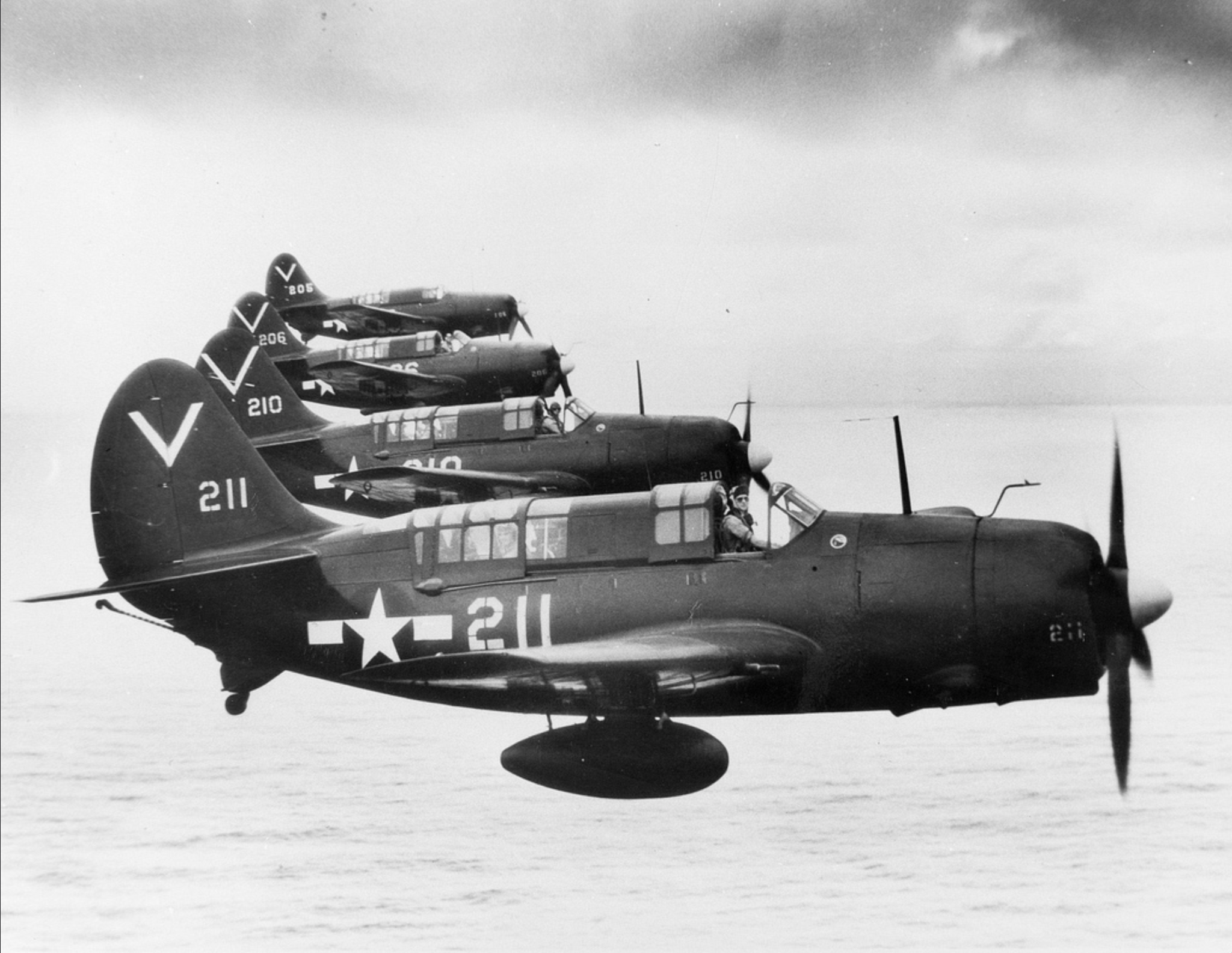 On the 28 July, 1945, Porter and Brissette flew SB2C Helldiver #210, second from the bottom.