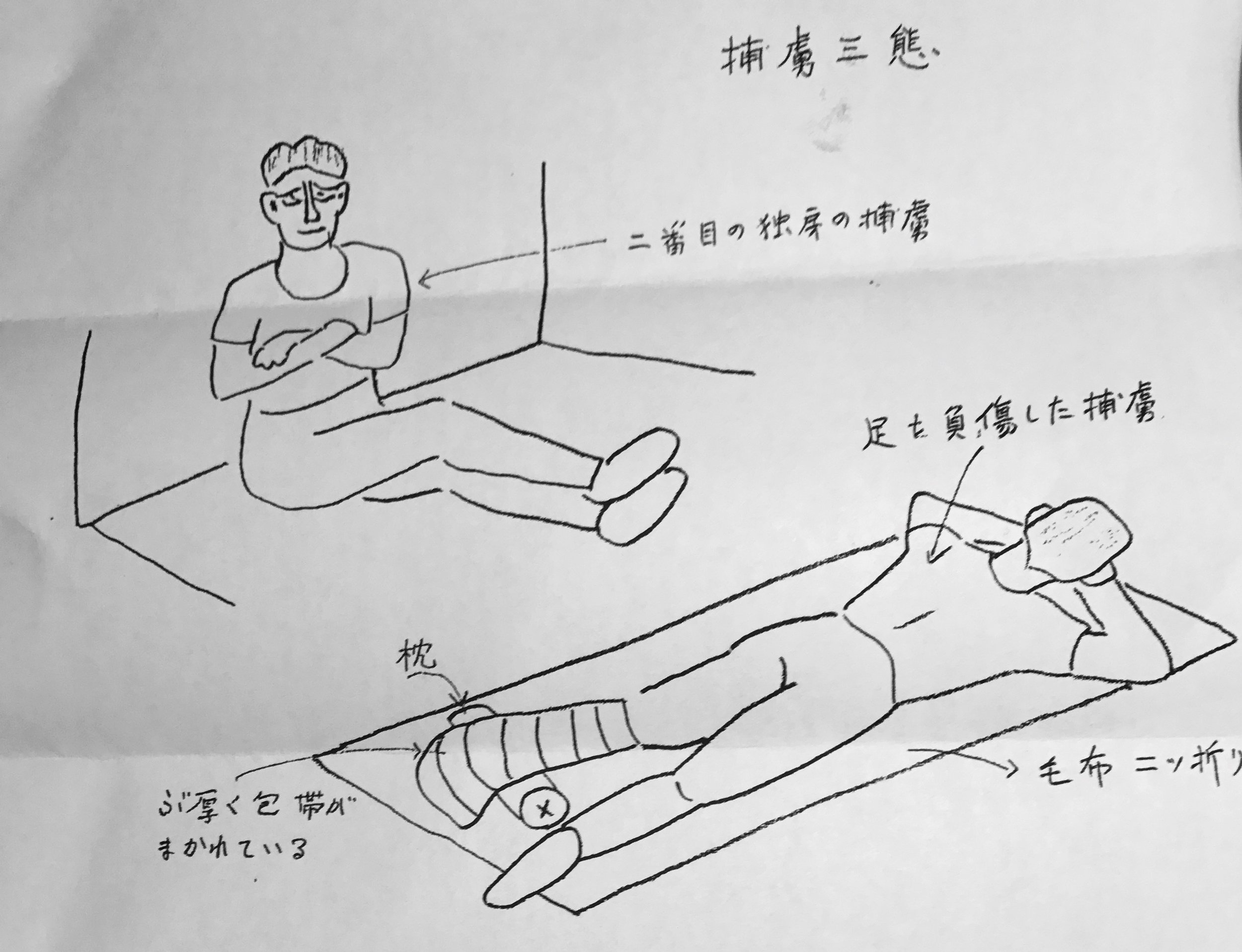 Sketch by Professor Akio Nakamura of two of the American POWs he saw in the Chugoku MP Headquarters on 5 August, 1945.The lower figure with the injured leg is most likely Durden Looper, who was known to have a leg injury. (Editor's note: Tom Cartwright believed them to be Hugh Atkinson, sitting, and James Ryan on the pallet with an injured foot.) Professor Nakamura's father was at the time a child, the son of Lt. Col. Shigeo Nakamura the commanding officer of the MP HQ. He, too, perished in the bombing. (Courtesy Dr. Akio Nakamura.)