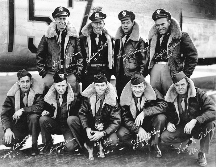 Cartwright Crew - Crew #42B Back row from left: 2nd Lt. James Ryan, 2nd Lt. Durden Looper, 2nd Lt. Thomas Cartwright, 2nd Lt. Roy PedersenFront row from left: Sgt. Hugh Atkinson, Sgt. Buford Ellison, Blackie the mascot dog, Sgt. William (Bill) Abel, Corp. John Long, and Frank Baker. Baker was on sick call and was replaced by Sgt. Ralph Neal.Photo courtesy of Mr. Francis Ryan.
