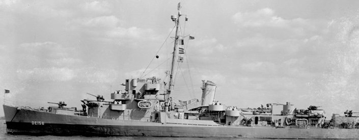 The high speed transport  Reeves  was the first U.S. Naval vessel to drop anchor in Tokyo Bay before the formal surrender.