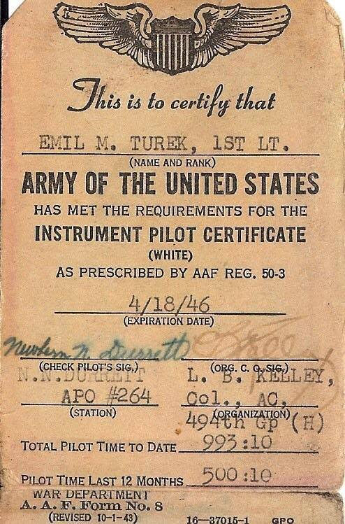 Instrument pilot rating, signed by Col. Laurence Kelley, for whom the 494th BG(H) was named  Kelley's Kobras . (Image courtesy of the Turek family.)