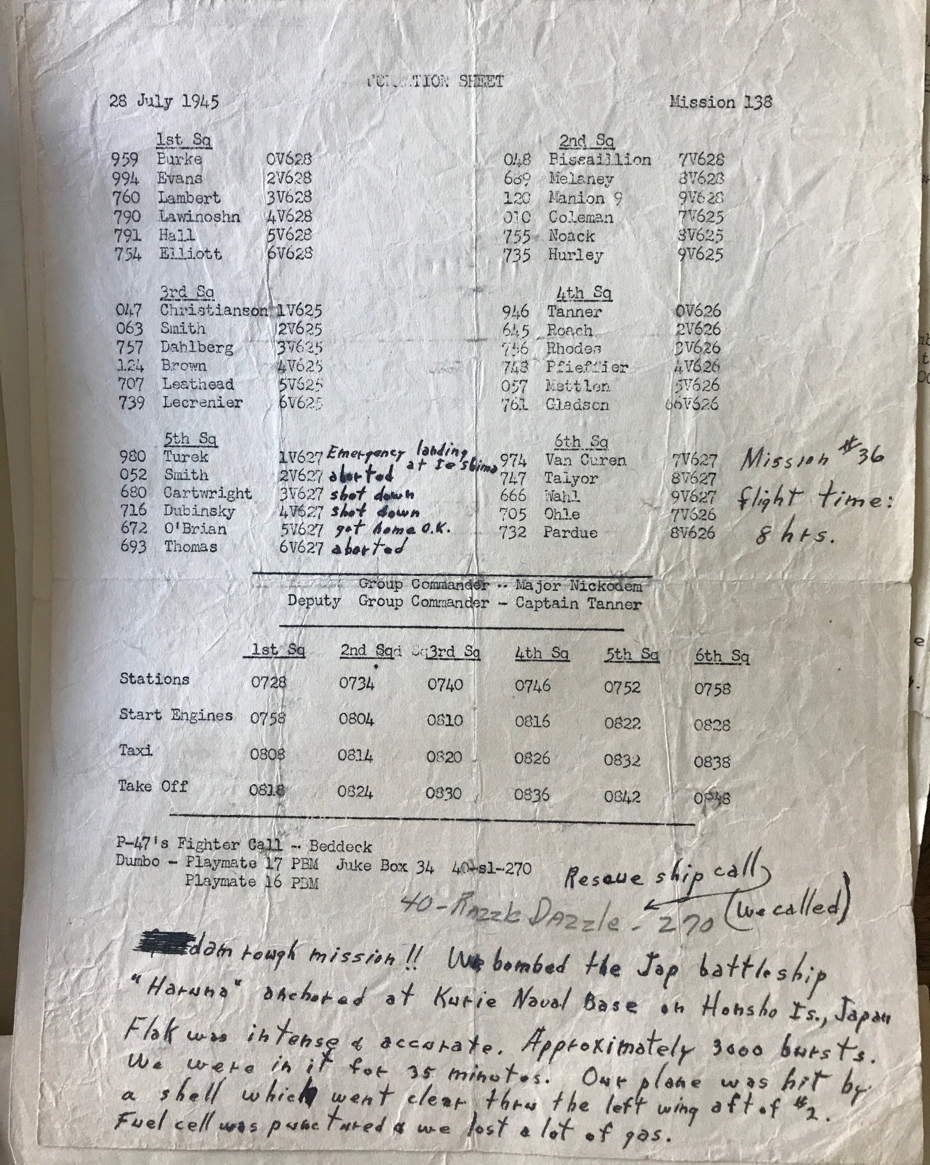 This formation sheet records Mission #138 of the 494th Bombardment Group. It includes notes from the 5th Squadron lead pilot, Emil Turek. (Courtesy Barbara English, Turek's daughter.)