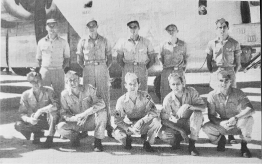 The B-24 crew that completed 40 combat missions led by Don Marvin is shown here in front of  Lonesome Lady . Emil Turek identified this  494th Group History Vol. 1  photograph in his correspondence, and Rolf Slen confirmed that Don Marvin is standing in the position sometimes reserved for the pilot, far left in the back row.