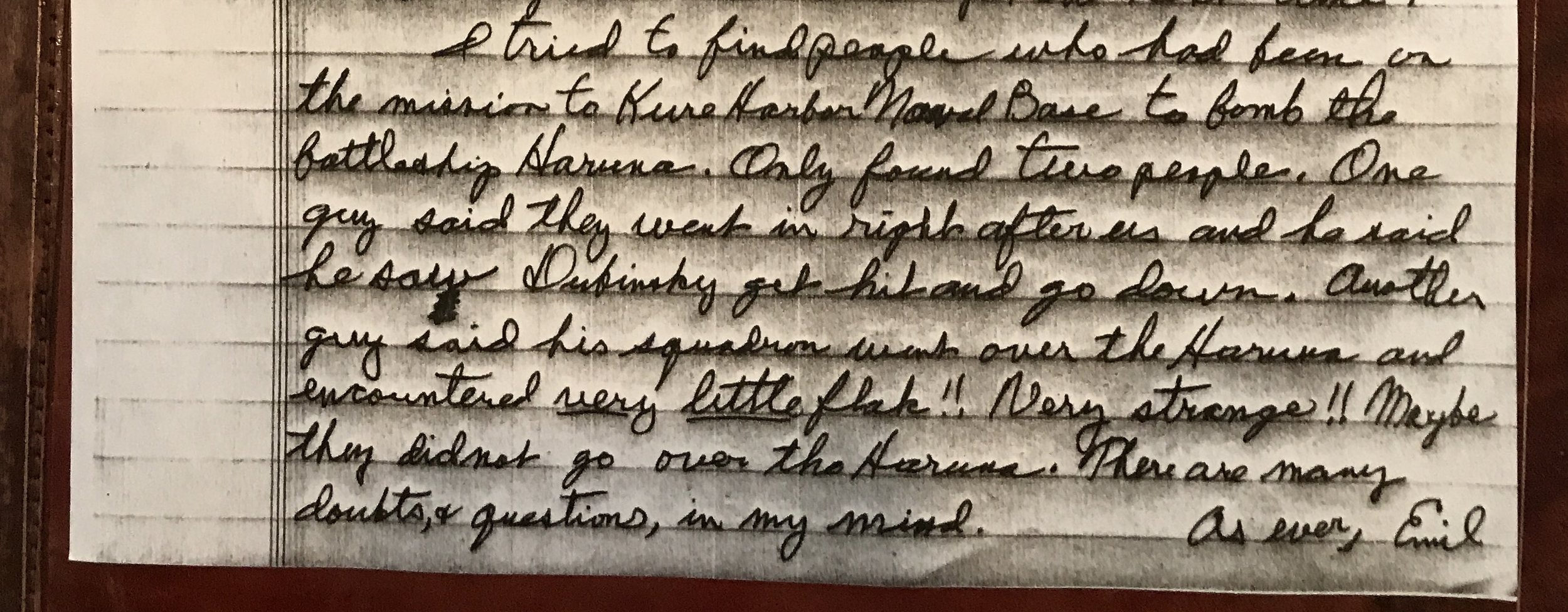 Excerpt from a letter written by Emil Turek in 1988 to his crewmen and others after he attended a 494th BG(H) reunion.Courtesy of Barbara English.