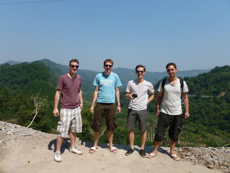 On a motor biking trip in Yangshuo with an American, a Dane and an Englishman.